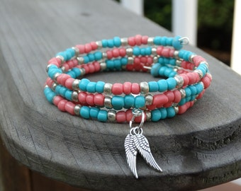 Beaded Bracelet, Memory Wire, Glass Seed Beads, Turquoise Bracelet, Wrap Bracelet, Beaded Cuff Bracelet, Wire Wrap, Handmade Bracelet