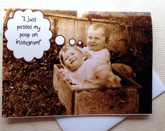 Vintage Baby Card - Funny Old Photo Card - Cute Baby Card - New Baby Card - Adorable Vintage Baby Card - Sweet Baby