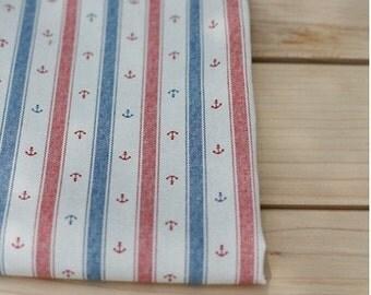 140cm / 55 inch Width, Zakka Style Anchor Stripe Pattern Linen Cotton Fabric, Half Yard