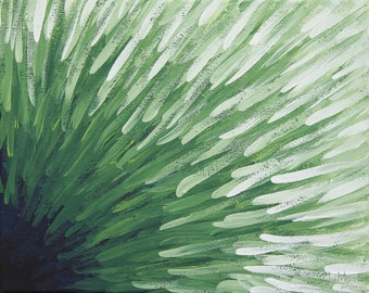 Acrylic Abstract Painting on Canvas 8x10 Green White Navy Black