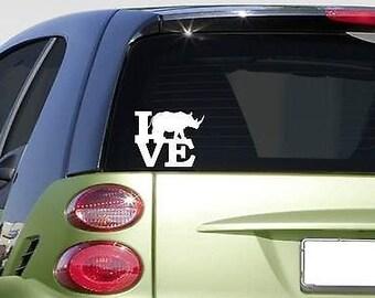 "Rhino Love 6"" Sticker Decal *F443* Zoo Africa Rhinoceros"