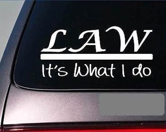 Law Sticker Decal *E320* Lawyer Law School Court Judge Jury Trial Witness Stand