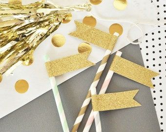 Glitter Flags 48ct Gold Glitter Straws Flag - Glitter Drink Tags - Bridal Shower Straws Flags - Gold Glitter Party Decorations (EB3081)