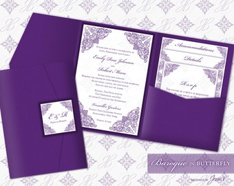 Printable Pocket Folder Invitation Digital Template | Wedding Instant Download Pocket Invitation (wide) | Baroque in Butterfly