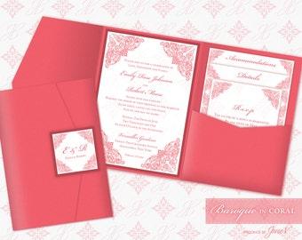 Printable Pocket Folder Invitation Digital Template | Wedding Instant Download Pocket Invitation (wide) | Baroque in Coral