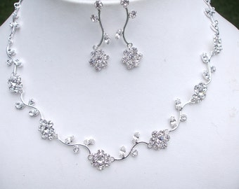 Bridal jewelry set crystal flower wedding jewellery set rhinestone necklace and earrings diamante wedding jewelry bridesmaid jewellery gift