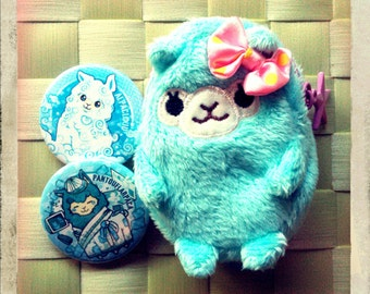 Blue Alpaca Coin Purse and Pin buttons