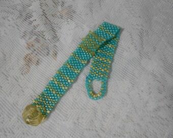 Retro Peyote Band Bracelet, Narrow Band Bracelet, Aqua and Gold, Peyote Stitch Bracelet, Seed Bead Jewelry, Beachy, Boho, Sand and Sea
