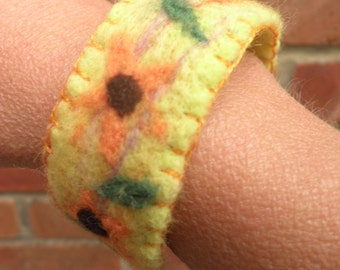 SALE felted cuff sunflowers