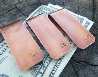 Groomsman Gift Money Clip, Copper Money Clip, Personalized Initial Money Clip, Gift For Dad, Gift For Groom, Gift For Groomsman,  Initials