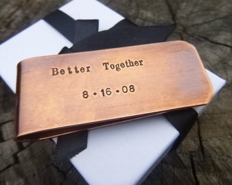 Better Together Money Clip, Couples Money Clip, Copper Money Clip, Personalized Money Clip, Anniversary Gift, 7th Anniversary, Gift For Men