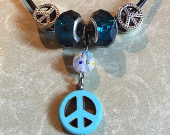 Fab Howlite PEACE Necklace Glass Beads