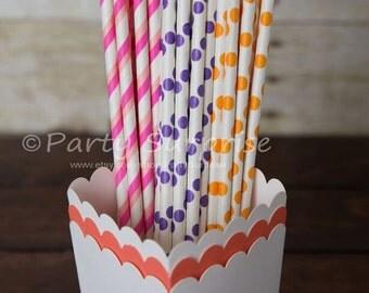 Pink Purple Orange Paper Straws, Girl Party Baby Shower Striped Polka Dot Drinking Straws, Kids Party Birthday Party Paper Straws