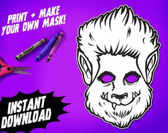 PRINTABLE Wolfman Coloring Mask, kids paper werewolf halloween mask, DIY halloween party costume, cryptozoology, instant download PDF