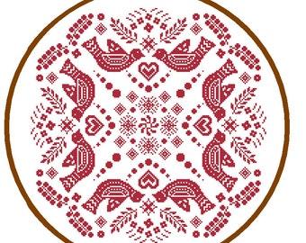Mandala Cross Stitch Pattern Folk Art cross stitch red Geometric cross stitch tribal vintage cross stitch cushion cross wall art