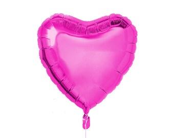 """Heart Shaped Balloon - Foil Mylar - 18"""" inch - Hot Pink - Love Valentine's Day Blank - Ballon Globo Shape Fuchsia Magenta Princess"""