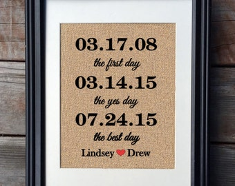 Framed The First Day, The Yes Day, The Best Day Burlap Print | Wedding Gift | Newlywed Gift | Bridal Gift | Valentine's Day Gift