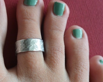 Toe Ring Hammered Texture Cuff Band Adjustable Gift For Her Jewelry - Birthday - Summer - Christmas - Mother's Day - Beach