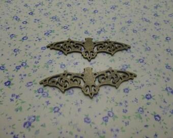 12 pcs of antique bronze color metal bat pendant charm , 56*19mm , MP445