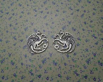 8 pcs of antique silver color metal dragon pendant charm , 35*33mm , MP523