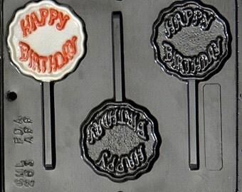 Happy Birthday Lollipop Chocolate Candy Mold 263