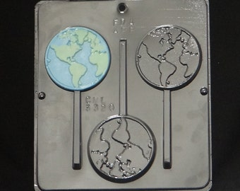 World Earth Lollipop Chocolate Candy Mold 3320