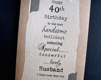 Larger 30th 40th 50th Birthday Card for HUSBAND handsome, brilliant, amazing Boyfriend, Partner, Fiance, Dad Brother Personalised 60th 70th