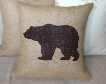 Bear Burlap Pillow Rustic,Gifts For Him,Man Cave,Fathers Day,polar bear Pillow - Cabin decor Cover