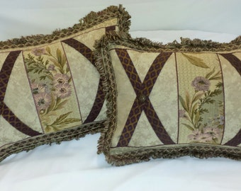 Purple Garden Lumbar Pillow Covers with Buttons and Trim 12 x 18