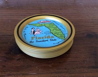 Vintage Florida Coasters, Florida Drink coasters, souvenir florida, 60s sixties 1960s coasters, beach sun and fun spots, tin coasters