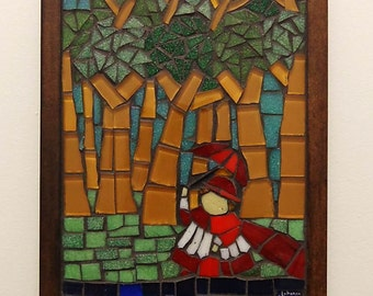 Mosaic Wall Art. Glass Mosaic. Cardinal in the Woods inspired by Botero (7.87x5.9 inches)