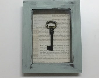 Framed key, Shadow box frame, framed skeleton key, cast iron key, frame with key, shabby chic frame, Christian decor, gallery wall