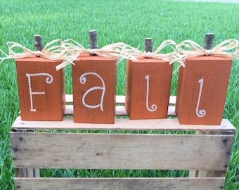 Fall wood blocks, Fall decor, Autumn decorations, Pumpkins, wood pumpkins, Fall decorations, Rustic Pumpkins, Front porch fall decor