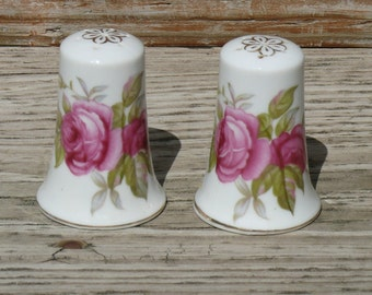 Lefton Hand Painted Salt and Pepper Shakers Roses