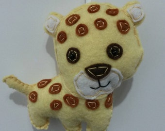 Baby Cheetah, Felt Cheetah Ornament, Plush Cheetah Ornament,  Cheetah Nursery Decor, Cheetah Theme Decor