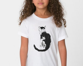 KillerBeeMoto: Xu Beihong Monochrome Image Of A Defiant Cat Ink Style Illustration Cat Shirt