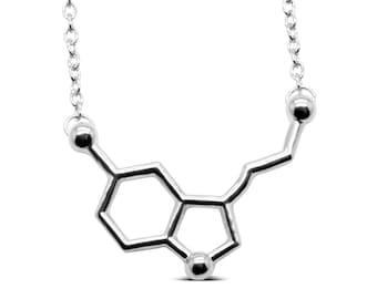 Serotonin Molecule Alloy Necklace - Geek Chic Molecule Jewelry, Chemistry Necklace, Science Necklace