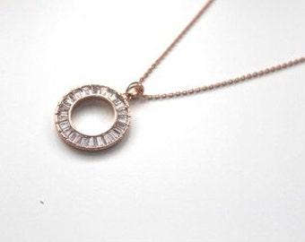 Rose Gold Crystal Circle Necklace