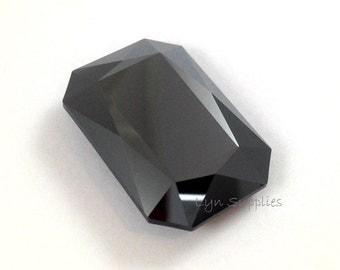 4627 JET HEMATITE 27x18.5mm Swarovski Crystal Faceted Rectangle Octagon, Metallic Black
