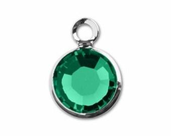 57700 EMERALD 8pcs Swarovski Crystal Channel Drops Rhodium Plated One Loop - May Birthstone Drops