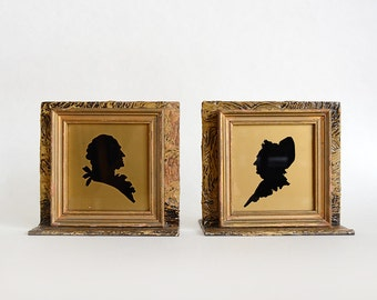 Bookends -  Martha and George Washington Silhouette - Gold and Black Bust Silhouette - Couple