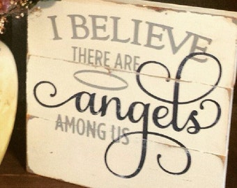 "Handcrafted Wood ""Angels Among Us"" sign - 11 x 11"