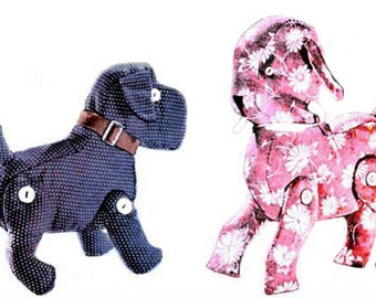 Lamb and Dog Toy Sewing Pattern Vintage 1950s Stuffed Animal Digital Download