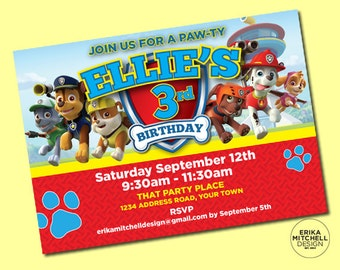 Paw Patrol Birthday Invite // DIGITAL FILE // CUSTOM Birthday Invitations