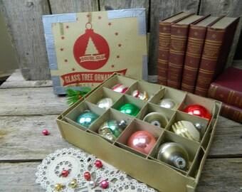 Vintage Mid Century Set of 12 Doubl-Glo Glass Christmas Ornaments - Original Box