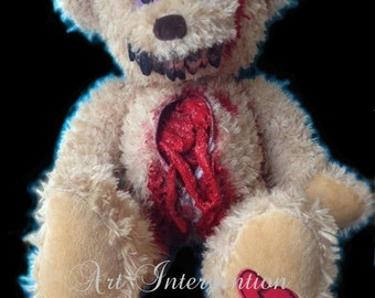 Insides out - Gore Bear, un-zipped, one-off, horror teddy, bloody, gorey, scary,