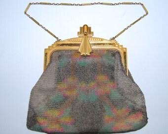 Whiting and Davis Dresden Mesh Purse Art Deco Flapper Floral Purse Bag