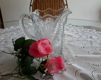 Vintage Glass Pitcher,  Beautiful Pattern, Small, Kitchen and dining