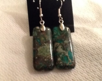 Green Sea Sediment Jasper Earrings