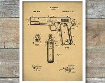 J.M. Browning Firearm Patent, J.M. Browning Firearm Poster, J.M. Browning Firearm Print, J.M. Browning Firearm Art, P135